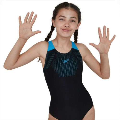 SPEEDO GIRLS SWIMSUIT.TECH PLACEMENT BLACK BLUE MUSCLEBACK SWIMMING COSTUME 9W 2
